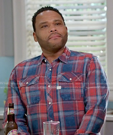 Andre's blue and red plaid shirt on Black-ish