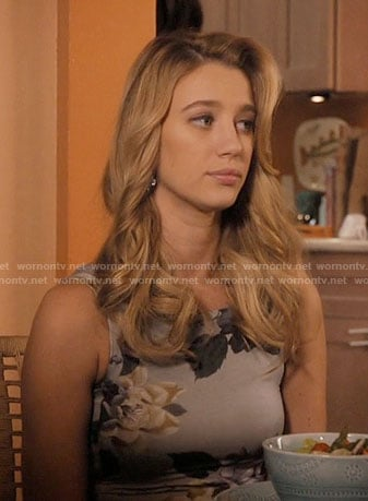 Anezka's grey floral dress on Jane the Virgin