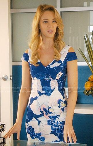 Anezka's blue floral cold-shoulder dress on Jane the Virgin