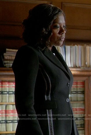 Annalise's black blazer with embroidered detail on How to Get Away with Murder