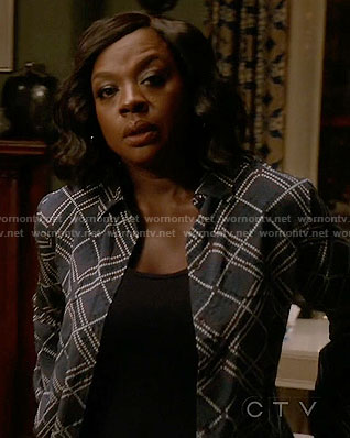 Annalise's blue dotted patterned shirt on How to Get Away with Murder