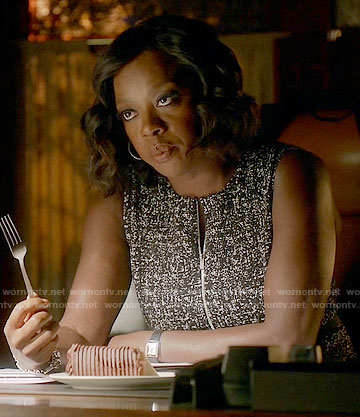 Annalise's black and white tweed zip front dress on How to Get Away with Murder