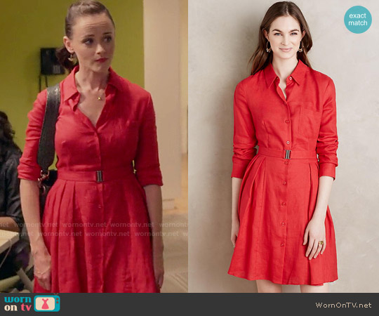 Anthropologie Laila Linen Shirtdress worn by Alexis Bledel on Gilmore Girls