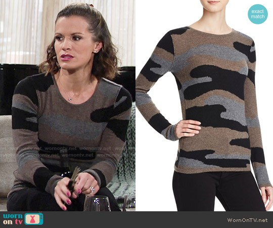 Aqua Camo Crewneck Cashmere Sweater worn by Melissa Claire Egan on The Young & the Restless