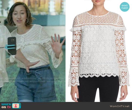 Aqua Lace Long Sleeve Top worn by Kristen Schaal on Last Man On Earth