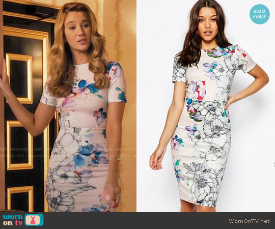 ASOS Floral T-Shirt Scuba Bodycon Midi Dress worn by Yael Grobglas on Jane the Virgin