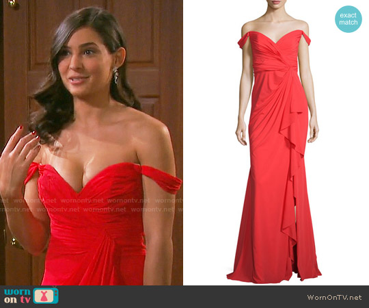 Badgley Mischka Off-the-Shoulder Stretch Silk Sweetheart Gown worn by Camila Banus on Days of our Lives