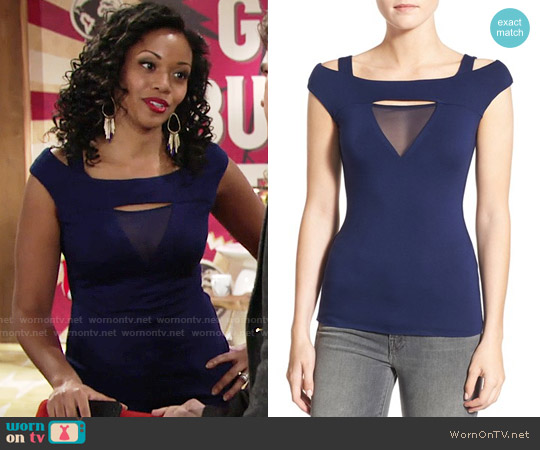 Bailey 44 'Contour' Mesh Cutout Cold Shoulder Top worn by Mishael Morgan on The Young & the Restless