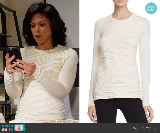 Bailey 44 Tripping Sweater in Vanilla worn by Karla Mosley on The Bold & the Beautiful