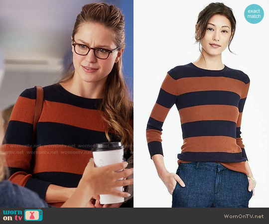 Banana Republic Rugby Stripe Sweater worn by Melissa Benoist on Supergirl