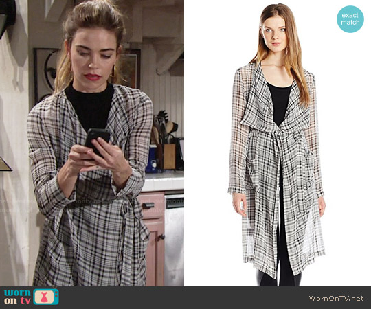 Bcbgeneration Kimono Trench Coat worn by Victoria Newman (Amelia Heinle) on The Young & the Restless