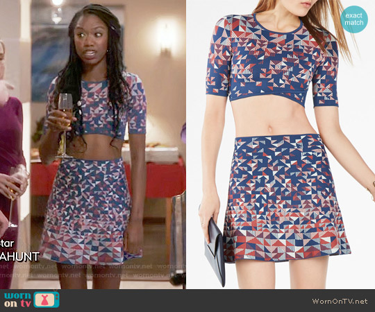 Bcbgmaxazria Gracy Top and Queeney Skirt worn by Tamra (Xosha Roquemore) on The Mindy Project