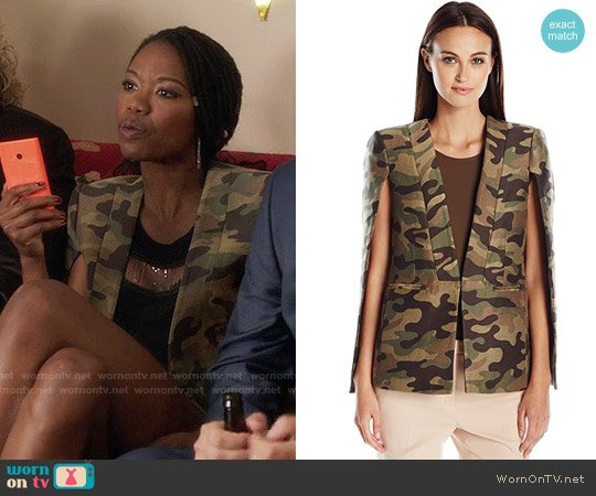 Bcbgmaxazria Upas Cape in Dark Fatigue Combo worn by Xosha Roquemore on The Mindy Project