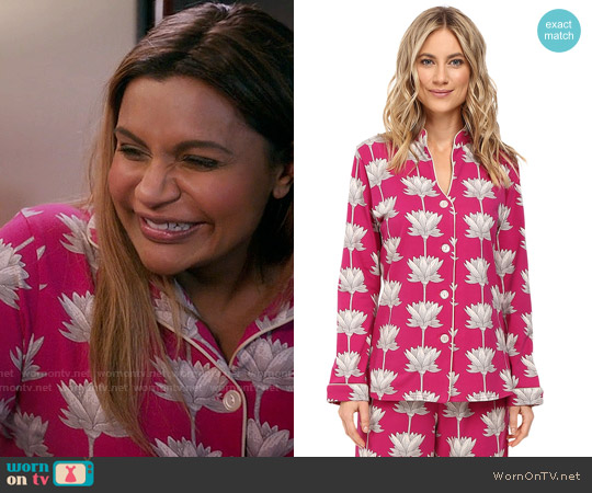 BedHead Mandarin Collar Pajama Set in Lotusland worn by Mindy Lahiri (Mindy Kaling) on The Mindy Project