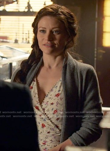 Belle's white floral wrap dress on Once Upon a Time