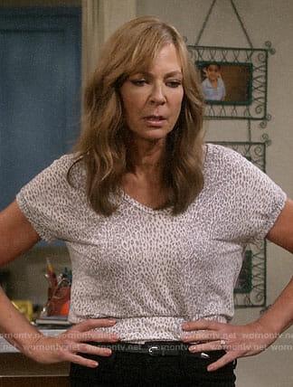 Bonnie's leopard print tee on Mom