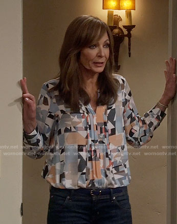 Vince Camuto Print Pleat Front Split Neck Blouse worn by Allison Janney on Mom