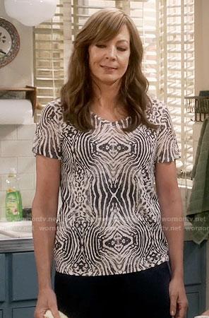 Bonnie's zebra print tee on Mom