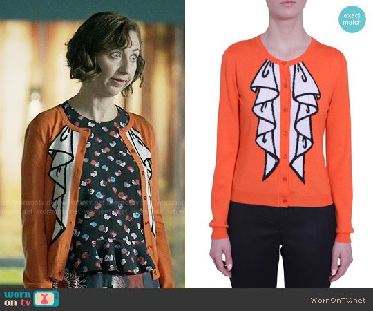 Boutique Moschino Ruffle Print Crew Neck Cardigan worn by Kristen Schaal on Last Man On Earth