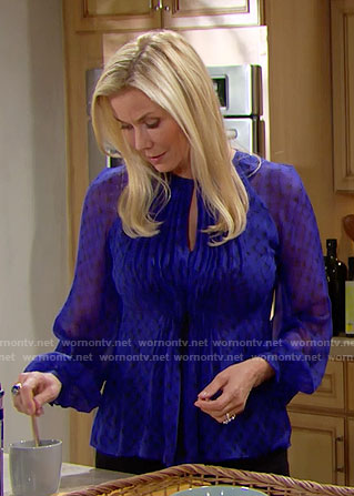 Brooke's blue printed long sleeve blouse on The Bold and the Beautiful