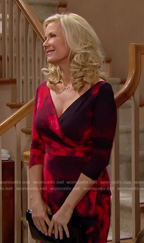 Brooke's black and red Thanksgiving dress on The Bold and the Beautiful