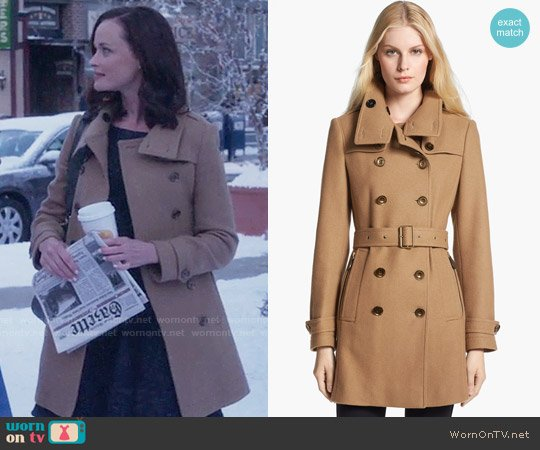 Burberry Brit 'Daylesmoore' Wool Blend Trench Coat worn by Alexis Bledel on Gilmore Girls