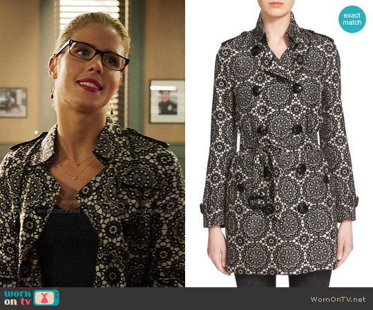 Burberry London 'Kensington' Lace Print Silk Trench Coat worn by Emily Bett Rickards on Arrow