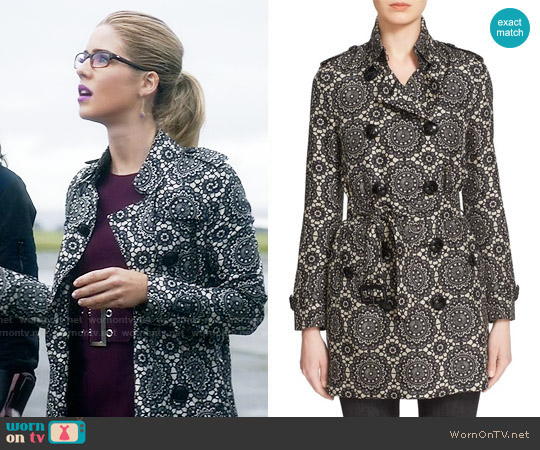 Burberry London 'Kensington' Lace Print Silk Trench Coat worn by Felicity Smoak on The Flash