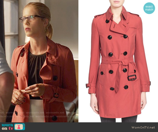 Burberry 'Kensington' Double Breasted Silk Trench Coat worn by Emily Bett Rickards on Arrow