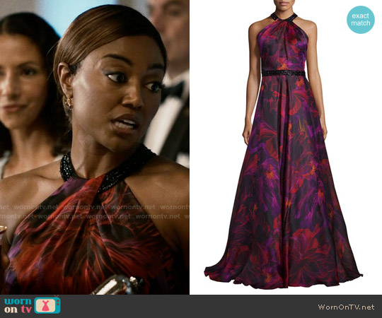 Carmen Marc Valvo Sleeveless Floral Silk Organza Gown worn by Patina Miller on Madam Secretary