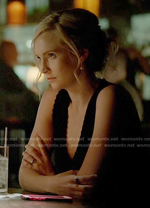 Caroline's black v-neck dress with zig zag trim on The Vampire Diaries