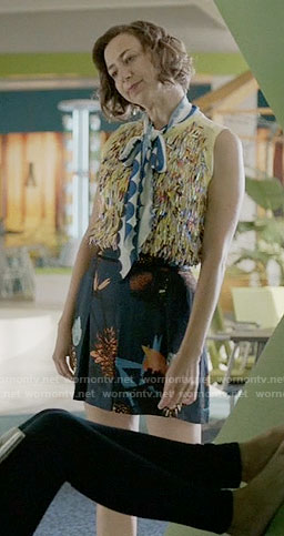 Carol's blue floral skirt and yellow textured front top on Last Man on Earth
