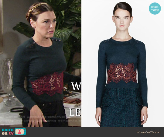 Carven Teal Lace Insert Sweater worn by Elizabeth Hendrickson on The Young & the Restless