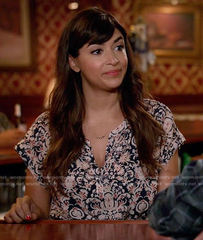 Cece's printed split-neck top on New Girl