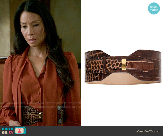 Celine Croc Embossed Waist Belt worn by Joan Watson on Elementary