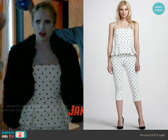 Alice & Olivia Sinclair Polka Dot Peplum Top and Capri Pants worn by Chanel Oberlin (Emma Roberts) on Scream Queens