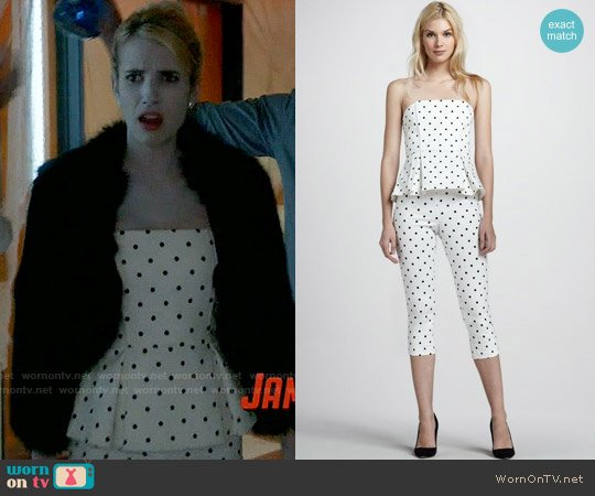 Alice & Olivia Sinclair Polka Dot Peplum Top and Capri Pants worn by Emma Roberts on Scream Queens