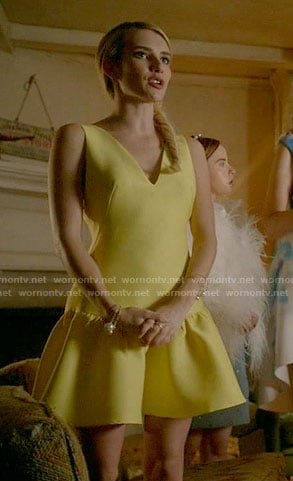 Chanel's yellow drop waist dress on Scream Queens