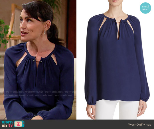 Chelsea and Walker Cutout Silk Blouse worn by Rena Sofer on The Bold & the Beautiful