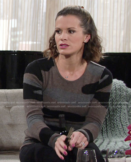 Chelsea's camo sweater on The Young and the Restless