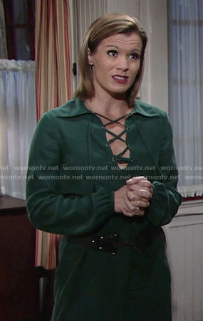 Chelsea's green lace-up dress on The Young and the Restless