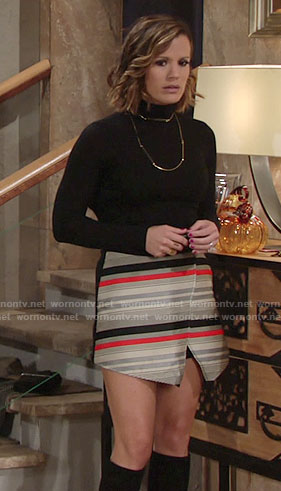 Chelsea's striped wrap skirt on The Young and the Restless