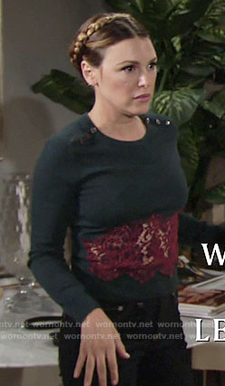 Chloe's green sweater with red lace inset on The Young and the Restless