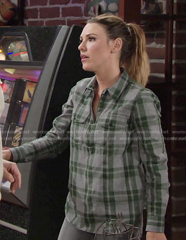Chloe's grey and green plaid zip front shirt on The Young and the Restless