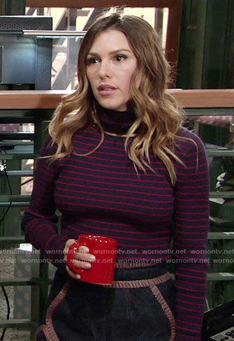Chloe's red and navy striped turtleneck sweater on The Young and the Restless