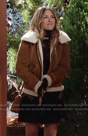Chloe's tan jacket with shearling trim on The Young and the Restless