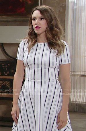 Chloe's white vertical striped dress on The Young and the Restless