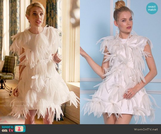Christian Siriano Bridal 2016 Collection Feather Dress worn by Emma Roberts on Scream Queens