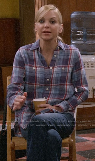 Christy's blue and red plaid shirt on Mom