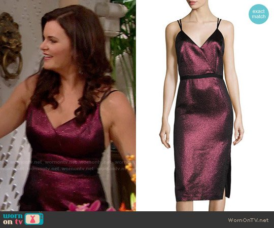 Cinq a Sept Soleil Metallic Strappy Cocktail Dress worn by Heather Tom on The Bold & the Beautiful